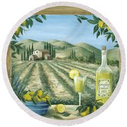 Limoncello Round Beach Towel by Marilyn Dunlap