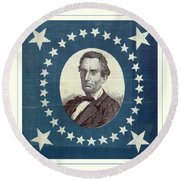 Lincoln 1860 Presidential Campaign Banner - Bust Portrait Round Beach Towel