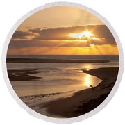 Lincoln City Sunset Round Beach Towel by John Daly