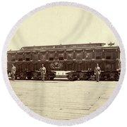 Lincoln Funeral Car, 1865 Round Beach Towel