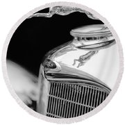 Lincoln Hood Ornament - Grille Emblem -1187bw Round Beach Towel