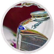 Lincoln Hood Ornament - Grille Emblem -1187c Round Beach Towel by Jill Reger