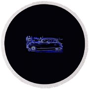 Lincoln In Neon Round Beach Towel