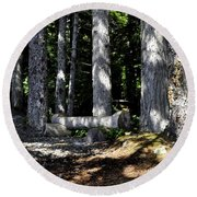 Lincoln Logs Round Beach Towel