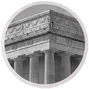 Lincoln Memorial Columns Bw Round Beach Towel by Susan Candelario