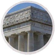 Lincoln Memorial Columns  Round Beach Towel by Susan Candelario