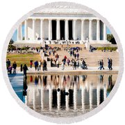 Lincoln Memorial Round Beach Towel by Greg Fortier