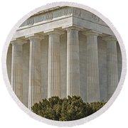 Lincoln Memorial Pillars Round Beach Towel