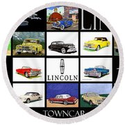 Poster Of Lincoln Cars Round Beach Towel