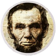 Lincoln Sepia Grunge Round Beach Towel