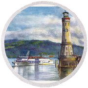 Lindau Light And Harbour Round Beach Towel