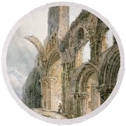 Lindisfarne Abbey Round Beach Towel