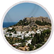 Lindos Acropolis Looking Seaward Round Beach Towel