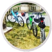 Line Of Bicycles In Park Round Beach Towel