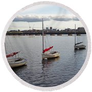 Line Of Boats On The Charles River Round Beach Towel