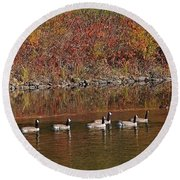 Line Of Geese On The Quinapoxet River Round Beach Towel