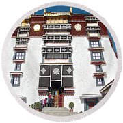 Line Of Pilgrims And Tourists Entering Former Living Quarters Of Dalai Lama In Potala Palace-tibet Round Beach Towel