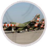 Line-up Of Hellenic Air Force T-2 Round Beach Towel