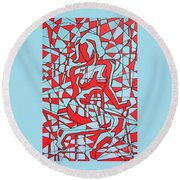 Lined Girl Round Beach Towel