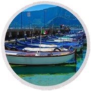 Lined Up Fleet In Sicily Round Beach Towel