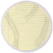 Lined Yellow Paper Round Beach Towel
