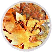 Lines Of Fall Round Beach Towel