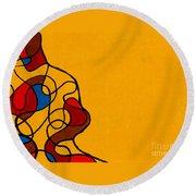 Linework Yellow Round Beach Towel