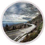 Linn Cove Viaduct During Winter Near Blowing Rock Nc Round Beach Towel