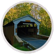 Linton Stevens Covered Bridge Round Beach Towel