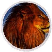 Lion - King Of Animals Round Beach Towel