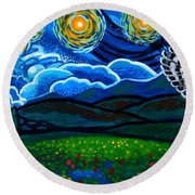 Lion And Owl On A Starry Night Round Beach Towel