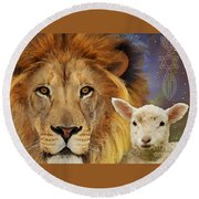 Lion And The Lamb Round Beach Towel