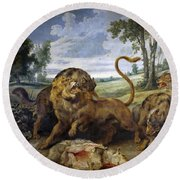 Lion And Three Wolves Round Beach Towel