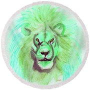 Lion Blue By Jrr Round Beach Towel