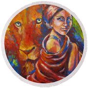 Lion Covering Round Beach Towel