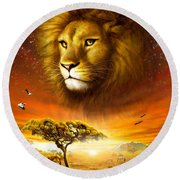 Lion Dawn Round Beach Towel by Adrian Chesterman