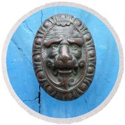 Lion Face Door Knob Round Beach Towel by Lainie Wrightson