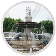 Lion Fountain - Aix En Provence Round Beach Towel