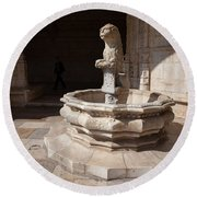 Lion Fountain Jeronimos Monastery In Lisbon Round Beach Towel
