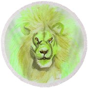 Lion Green Round Beach Towel