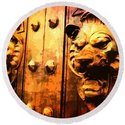 Lion Heads Gothic Door Round Beach Towel