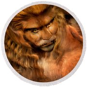 Lion Man Round Beach Towel