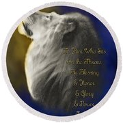 Lion Adoration Round Beach Towel