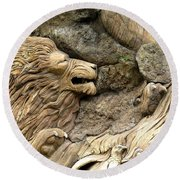 Lion On The Tree Of  Life Round Beach Towel