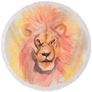 Lion Orange Round Beach Towel