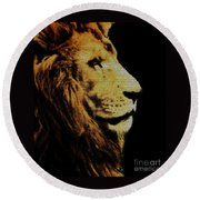 Lion Paint Round Beach Towel