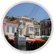 Lion Place Of Samos Round Beach Towel
