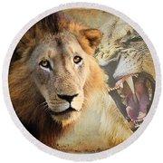 Lion Profile Round Beach Towel