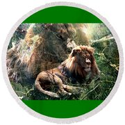 Lion Spirit Round Beach Towel