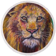 Lion Stare Round Beach Towel